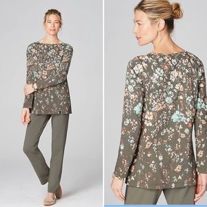 Pure Jill Floral Boat-Neck Top NWT